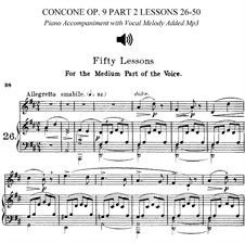 Для среднего голоса: No.26-50 Book II (piano accompaniments with vocal melody added and sheet music) by Джузеппе Конконе