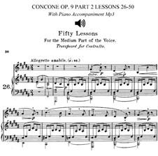 Для низкого голоса: No.26-50 Book II (piano accompaniments and sheet music) by Джузеппе Конконе