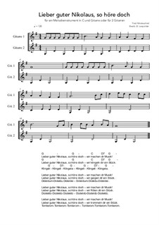 Lieber guter Nikolaus, so höre doch: For a melody instrument in C and guitar or for 2 guitars (G Major) by folklore