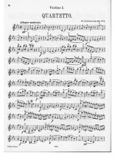 Струнный квартет No.10 ми-бемоль мажор, D.87 Op.125 No.1: Скрипка I by Франц Шуберт