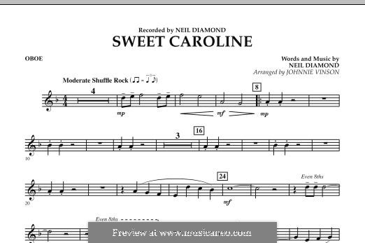 Sweet Caroline: Oboe part (arr. Johnnie Vinson) by Neil Diamond