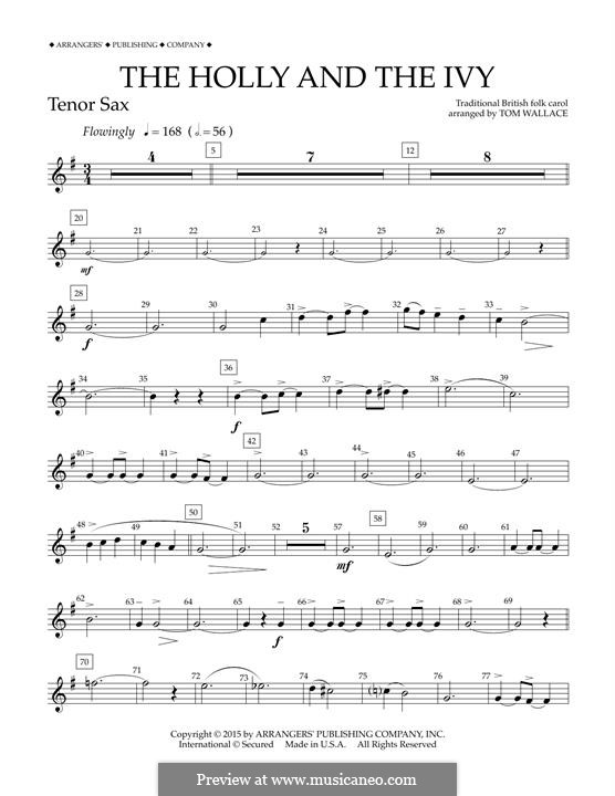 The Holly and the Ivy: Bb Tenor Saxophone part (Tom Wallace) by folklore