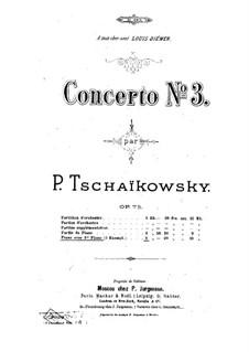 Концерт для фортепиано с оркестром No.3 ми-бемоль мажжор, TH 65 Op.75: Версия для двух фортепиано в четыре руки by Петр Чайковский