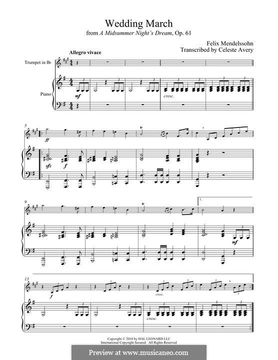 Wedding March (Printable Scores): For trumpet and piano by Феликс Мендельсон-Бартольди