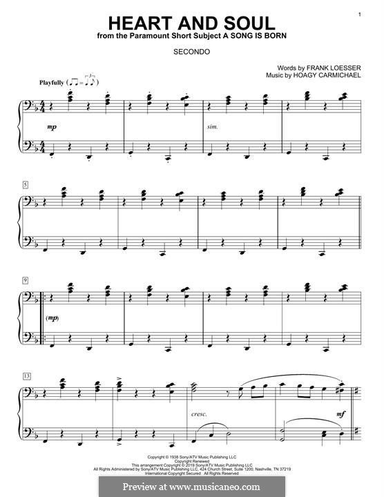 Heart and Soul: Для фортепиано в 4 руки by Hoagy Carmichael
