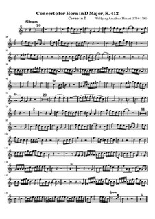 Концерт для валторны с оркестром No.1 ре мажор, K.412: Сольная партия by Вольфганг Амадей Моцарт