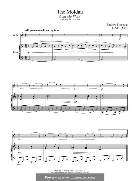 Влтава, T.111: Theme, for violin and piano by Бедржих Сметана