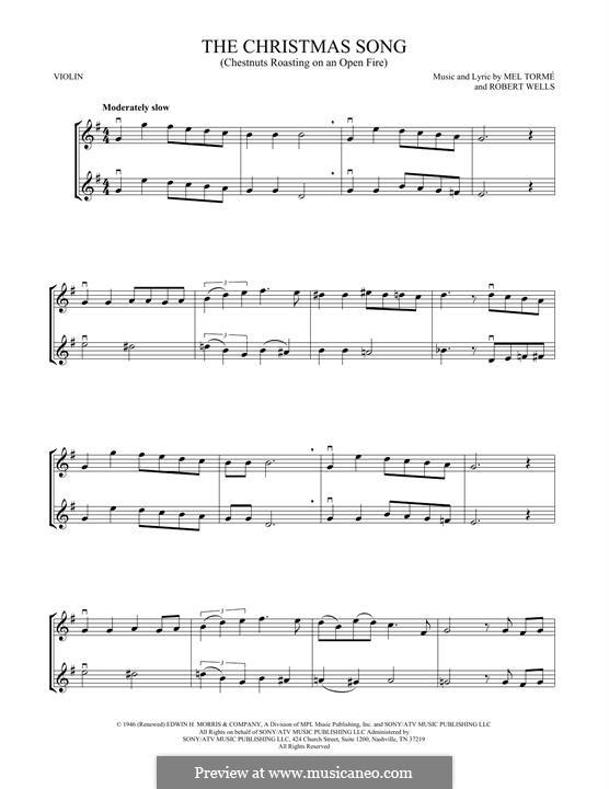 The Christmas Song (Chestnuts Roasting on an Open Fire): Для двух скрипок by Mel Tormé, Robert Wells