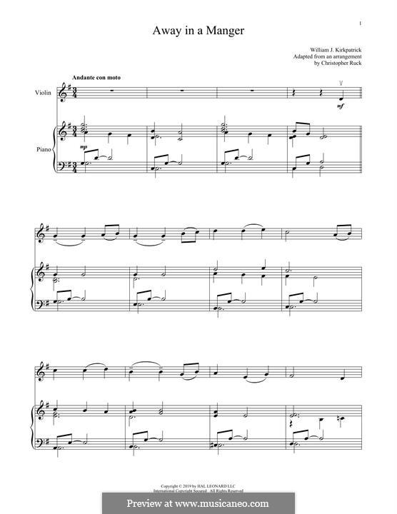 Away in a Manger: Для скрипки и фортепиано by folklore
