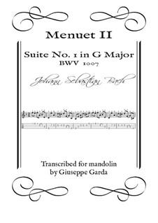 Сюита для виолончели No.1 соль мажор, BWV 1007: Menuet II. Arrangement for mandolin by Иоганн Себастьян Бах