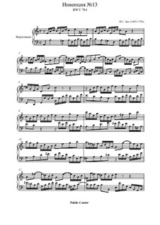 No.13 ля минор, BWV 784: Для фортепиано by Иоганн Себастьян Бах
