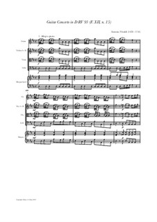 Concerto for Lute (or Mandolin) and Strings in D Major, RV 93: Score, parts by Антонио Вивальди