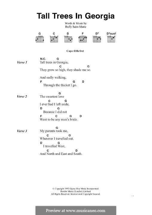 Tall Trees in Georgia: Текст, аккорды by Buffy Sainte-Marie
