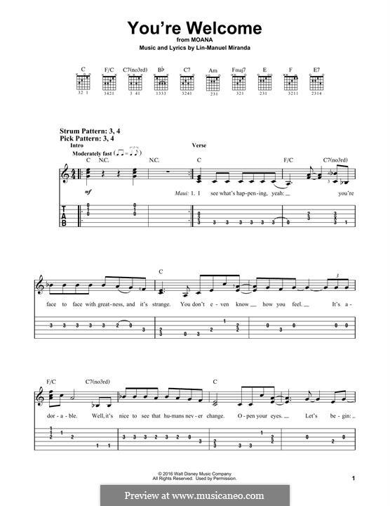 You're Welcome (from Moana): Гитарная табулатура by Lin-Manuel Miranda