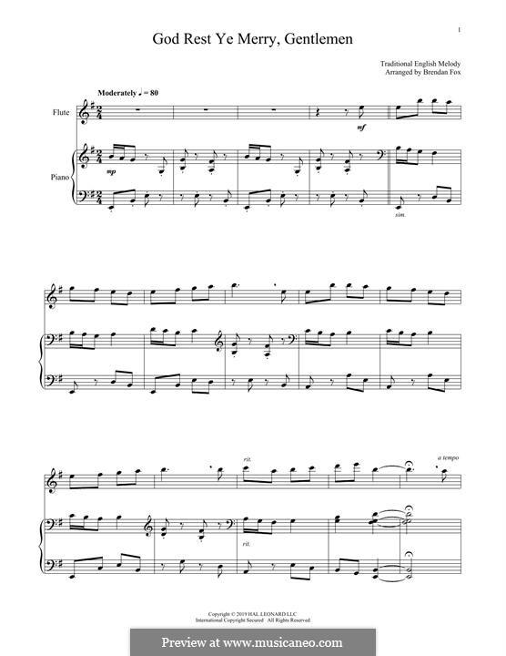 God Rest You Merry, Gentlemen (Printable Scores): Для флейты и фортепиано by folklore