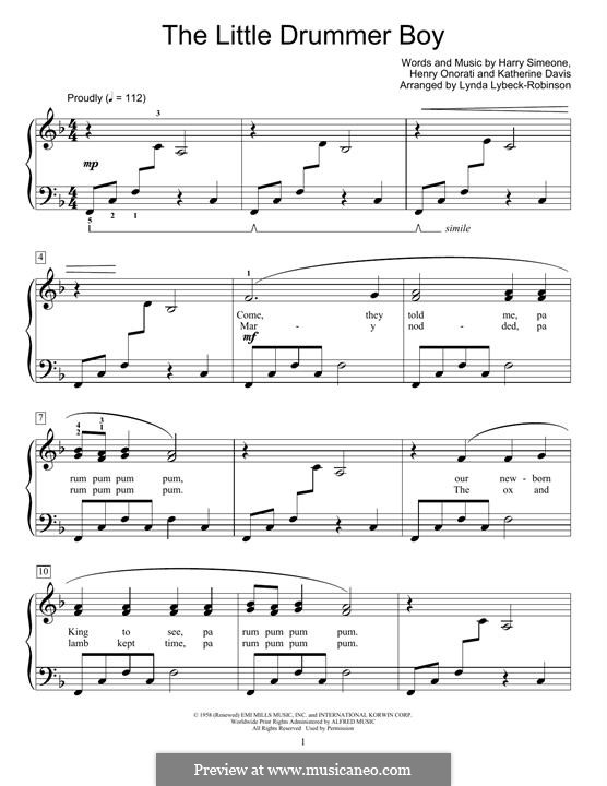 The Little Drummer Boy, for Piano: Для одного исполнителя by Harry Simeone, Henry Onorati, Katherine K. Davis