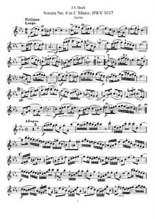 Соната для скрипки и клавесина No.4 до минор, BWV 1017: Сольная партия by Иоганн Себастьян Бах