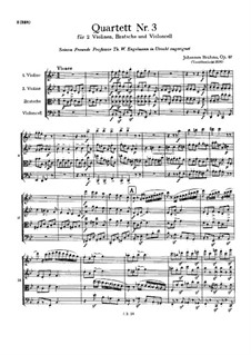 Струнный квартет No.3 си-бемоль мажор, Op.67: Партитура by Иоганнес Брамс