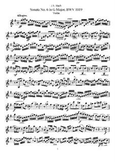 Соната для скрипки и клавесина No.6 соль мажор, BWV 1019: Аранжировка для скрипки и фортепиано – сольная партия by Иоганн Себастьян Бах
