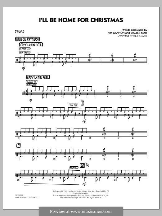 I'll Be Home for Christmas: Drums part (Rick Stitzel) by Kim Gannon, Walter Kent
