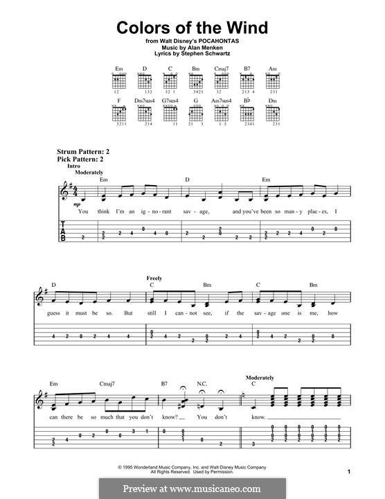 Colors of the Wind: Для гитары by Alan Menken