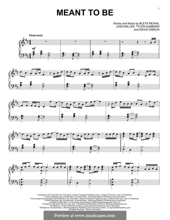 Meant To Be (Bebe Rexha feat. Florida Georgia Line): Для фортепиано by Joshua Miller, Tyler Hubbard, Bebe Rexha, David Garcia