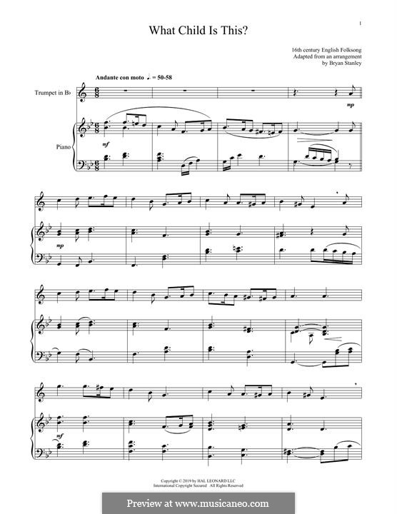 What Child is This (Christmas Carol): For trumpet and piano by folklore