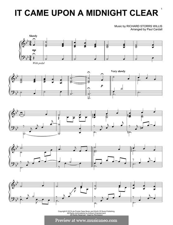It Came upon the Midnight Clear, for Piano: Для одного исполнителя by Richard Storrs Willis