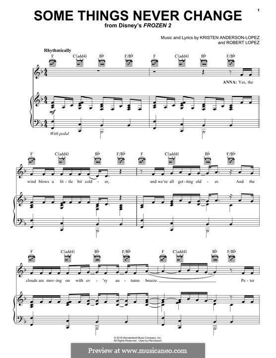 Some Things Never Change (from Disney's Frozen 2): Для голоса и фортепиано (или гитары) by Robert Lopez, Kristen Anderson-Lopez
