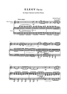 Элегия, Op.24: For bass clarinet in Bb and piano by Габриэль Форе