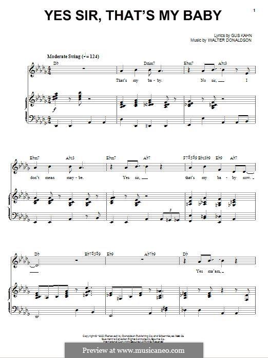 Yes Sir, That's My Baby: Для голоса и фортепиано by Уолтер Дональдсон