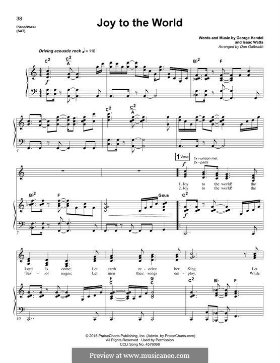 Joy to the World (Printable Scores): Для голоса и фортепиано by Георг Фридрих Гендель