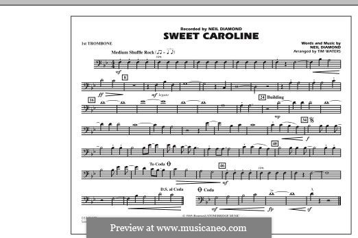 Sweet Caroline: 1st Trombone part (arr. Tim Waters) by Neil Diamond