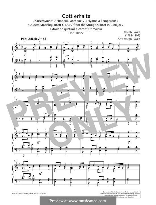 Австрийский национальный гимн, Hob.XXVIa/43: Для фортепиано by Йозеф Гайдн