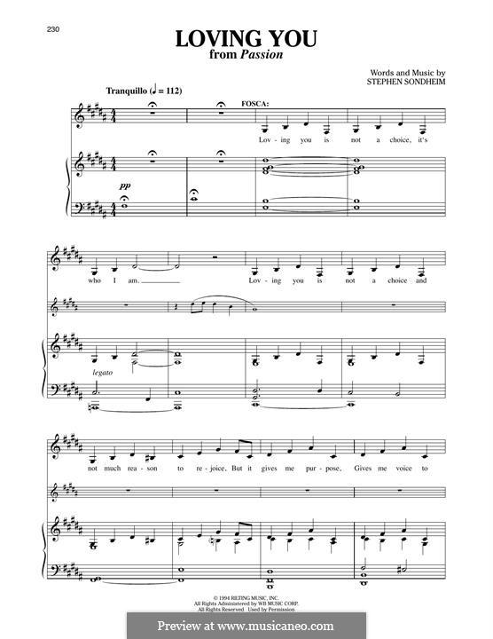 Loving You: Для голоса и фортепиано by Stephen Sondheim