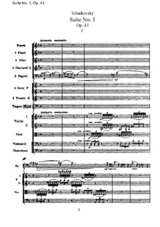 Сюита No.1 ре минор, TH 31 Op.43: Партитура by Петр Чайковский