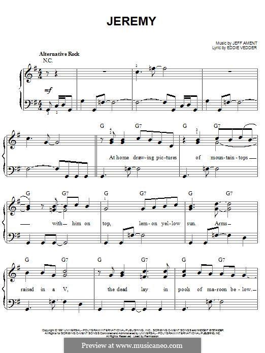Jeremy (Pearl Jam): Для фортепиано by Jeff Ament