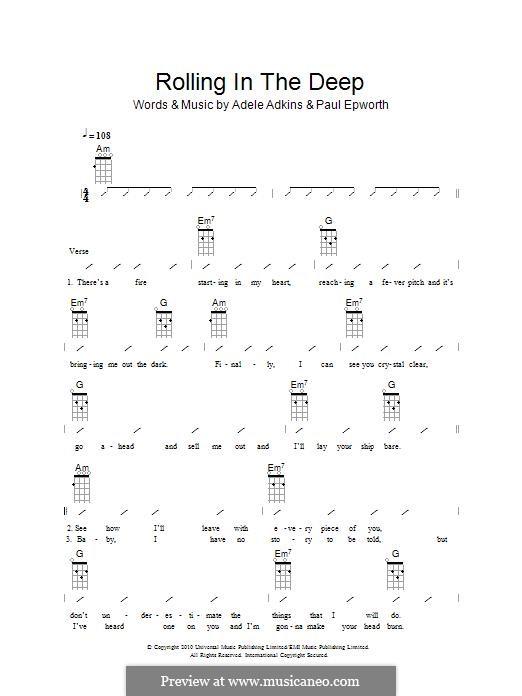 Vocal-instrumental version: For ukulele (The Ukuleles) by Adele, Paul Epworth