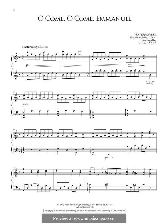 O Come, O Come, Emmanuel, for Piano: Для одного исполнителя by folklore