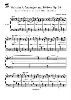 Вальс соль мажор, Op.39 No.15: Для фортепиано by Иоганнес Брамс