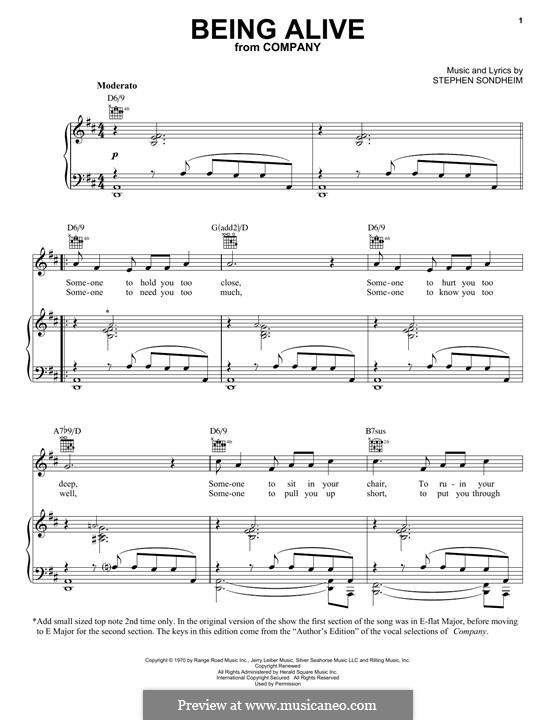 Being Alive (from Company): Для голоса и фортепиано (или гитары) by Stephen Sondheim