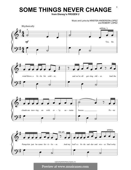 Some Things Never Change (from Disney's Frozen 2): Для фортепиано by Robert Lopez, Kristen Anderson-Lopez