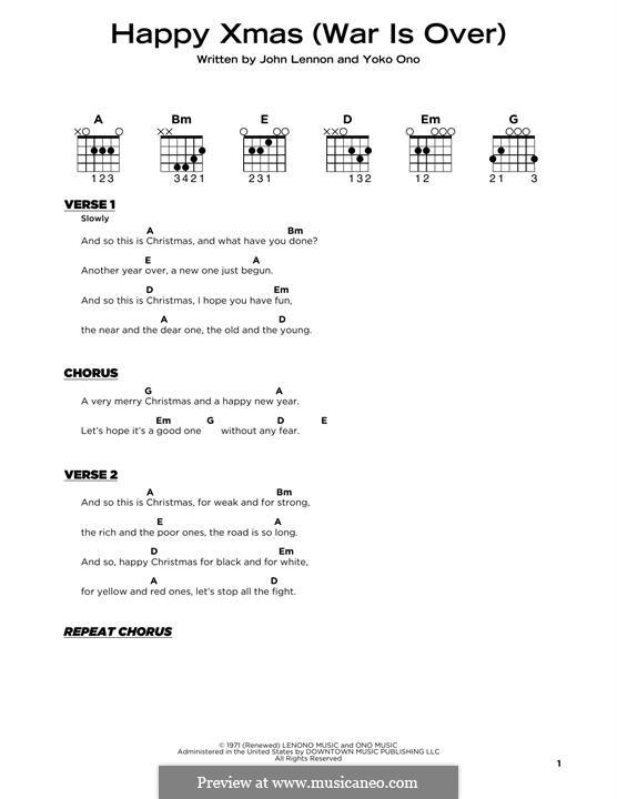 Happy Xmas (War Is Over): Текст, аккорды by John Lennon, Yoko Ono