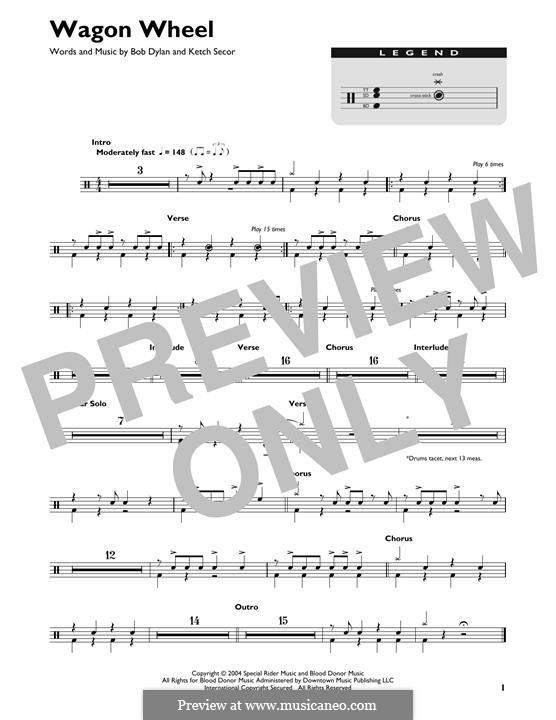 Wagon Wheel (Old Crow Medicine Show): Drum set by Bob Dylan, Ketch Secor