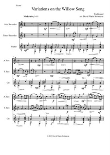 Variations on the Willow Song: For alto and tenor recorders and guitar by folklore