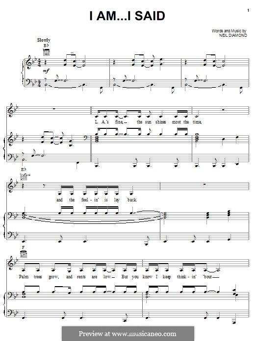 I Am...I Said: Для голоса и фортепиано (или гитары) by Neil Diamond