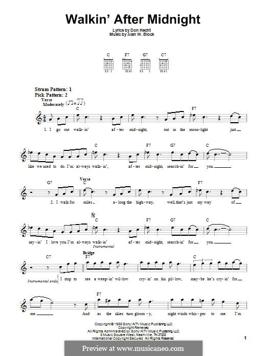 Walkin' After Midnight (Patsy Cline): Для гитары by Alan W. Block