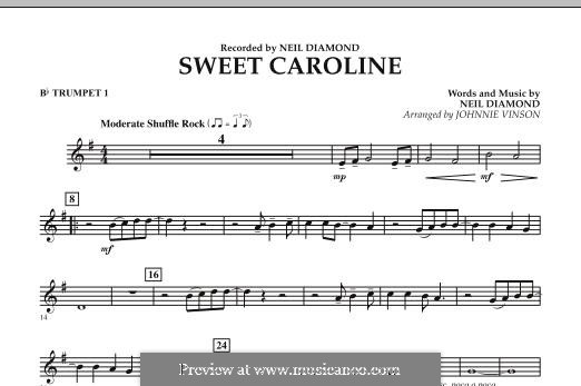 Sweet Caroline: Bb Trumpet 1 part (arr. Johnnie Vinson) by Neil Diamond