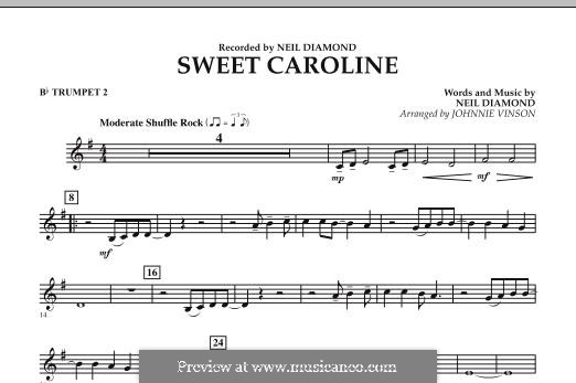Sweet Caroline: Bb Trumpet 2 part (arr. Johnnie Vinson) by Neil Diamond