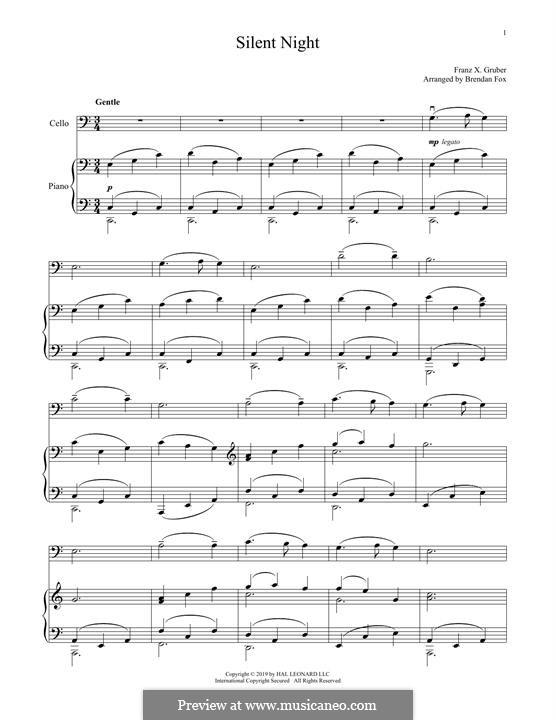 Тихая ночь, дивная ночь, для двух инструментов: Для виолончели и фортепиано by Франц Ксавьер Грубер